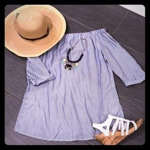 Off the Shoulder Navy & White Striped Shirt BNWOT